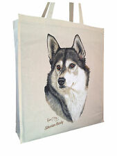 Siberian Husky Cotton Shopping Bag Tote with Gusset & Long Handles Perfect Gift
