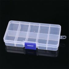 Plastic Clear 10 Slots Ear Studs Beads Jewelry Storage Box Case Craft Organizer