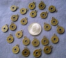Bronze asian 10mm coin charms plated replica 24 beads for beading pcs cfp026