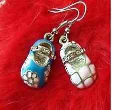 Placcati argento blu rosa smaltato cristallo scarpa orecchini