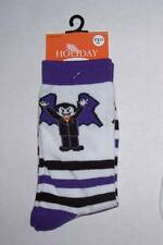 Girls Halloween Crew Socks Size 7-8 1/2 Dracula White with Black Purple