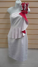 REDUCED LADIES WHITE & PINK DETAIL ONE SHOULDER PEPLUM FORMAL DRESS SIZE 8 BNWT