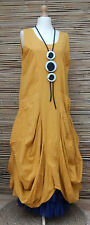 LAGENLOOK COTTON/LINEN BOHO BALLOON 2 LARGE POCKETS MAXI DRESS*YELLOW*SIZE M/L