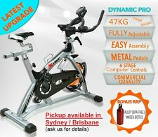 UPGRADED 47KG HEAVY DUTY COMMERCIAL SPIN EXERCISE BIKE HOME GYM FITNESS