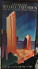 1975 Radio Music City Hall Decopage Art Deco Exposition Poster
