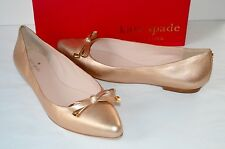 New $198 kate spade Emma Rose Gold Metallic Nappa Leather Flats 10 Pointed Toe