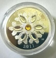 Canada 2011 Snowflake Yellow White Crystal 20 Dollars 1oz Silver Coin,Proof