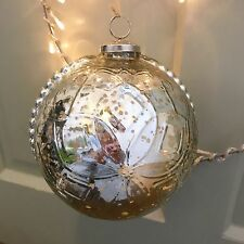 Giant Silver Round Mercury Glass Bauble 16cm, Very Large Xmas Decoration
