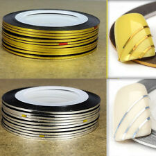 5 Gold + 5 Silver Rolls Nail Tape Stickers Stripes Lines Art Decoration
