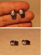 925 Handmade Polymer Clay Sprited Away No Face Male Earrings Creative Ear Stud
