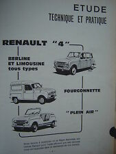 revue technique RENAULT R4 4L BERLINE FOURGONNETTE PLEIN-AIR / E.O 1970 français