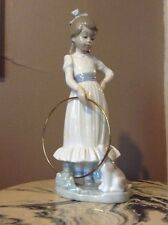"""LLADRO 9"""" GIRL PLAYING WITH HOOP & TAN PUPPY FIGURINE NAO 1981 PORCELAIN Ltp123"""