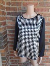 New VINCE CAMUTO Houndstooth Blouse Size M Women $89 Shirt Top Long Sleeve
