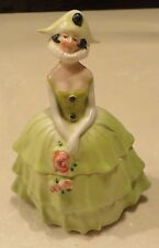 GREEN GERMAN MARDI GRAS HARLEQUIN FIGURAL LADY POWDER JAR TRINKET BOX
