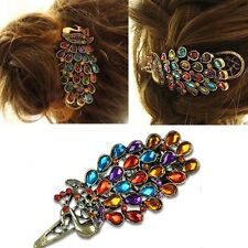 Gorgeous Jeweled Peacock Hair Clip Crystal Barrette Boho Bohemian Womens Girls