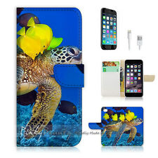 "iPhone 6 (4.7"") Print Flip Wallet Case Cover! Turtle Fish Ocean View P0398"