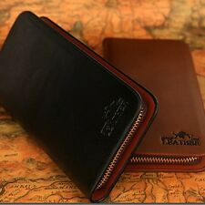 Men's Leather Wallet Zipper ID Card Holder Money Coin Clutch Long Purse