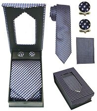 Purple, White, Black, & Navy Blue Pattern Tie + Cuffink + Handkerchief Gift Set