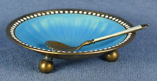 Blue Guilloche Enamel & Sterling Silver Footed Salt Cellar w/ Spoon