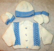 Hand knitted patterned cardigan,hat,mitts & booties set in white & blue newborn