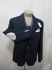 Daniel Elbow Patch Pocket Linen Cotton Button L Coat Men Navy Blue Jacket Blazer