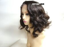 SKIN Top Deep Invisible Chestnut Brown Short Curly Lace Front Wig GLUELESS LS27