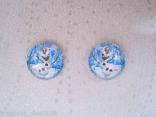 BLUE SNOWMAN SKATING on Frozen Ice 14mm Domed Glass Stud Earrings SP Gift XMAS