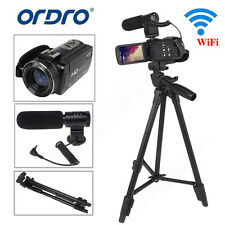 ORDRO 3Inch Full HD 1080P 24MP Digital Video Camera DV Camcorder+VCT-520 Tripod