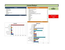Personal budget MS EXCEL template-monthly,annual, graphical preview, Microsoft