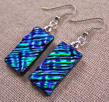 """Dichroic Glass Earrings Emerald Green Ripple Texture 1"""" Dangle Surgical Wire"""