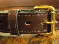"""THICK Stitched Brown Distressed """"Zombie"""" BULLHIDE Gun Belt Roller Buckle Fits 44"""