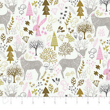Fabric 100% Cotton Camelot Hello My Deer Woodland