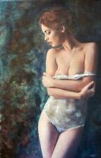 "WILLIAM OXER ORIGINAL CANVAS ""Passion"" Pretty nude Blond Woman Girl PAINTING"