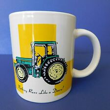 Gibson John Deere Coffee Cup 10 oz Tractors Mug Green Yellow White Bright Colors