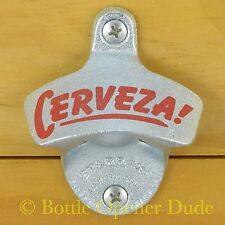 CERVEZA! Starr X Wall Mount Stationary Bottle Opener - Zinc Plated Cast Iron