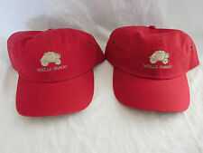 Lot of 2 Wells Fargo Emboidered Logo Baseball Cap Dad Hat Strapback Unstructured