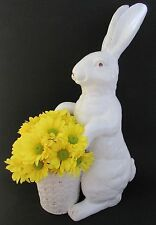 Majolica Rustic White Easter Rabbit Vase/Planter 18""