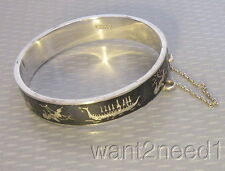 "vtg SIAM STERLING NEILLO HINGED BANGLE BRACELET 1/2"" wide dancer ship enamel 24g"