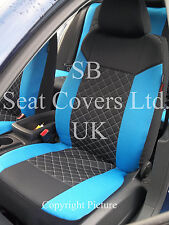 RENAULT KANGOO / CLIO CAR SEAT COVERS BLUE DIAMOND  STITCH FULL SET SBCSC208