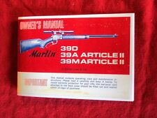 MARLIN MODEL 39D, 39A, 39M 22 CAL. RIFLE OWNERS MANUAL DATED 1971, Reproduction