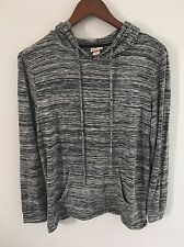 Mossimo Women's Hoodie Long Sleeve Casual Top Open Back Size M Black/gray/white