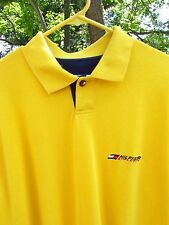 Vintage 90's Tommy Hilfiger Athletics Spell Out Bright Yellow Polo Shirt X-Large