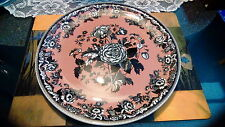Spode Archive Collection England British Flowers- Rosa platter pink & black