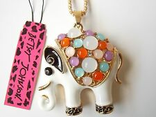 Betsey Johnson Rhinestone White elephant Pendant Necklace #Z82