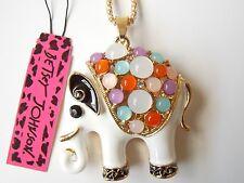 Betsey Johnson Rhinestone White elephant Pendant Necklace #Z82