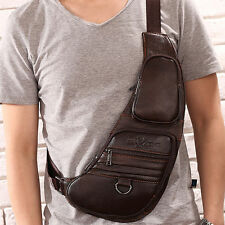 Men's Vintage Genuine Leather Travel Hiking Shoulder Messenger Sling Chest Bag