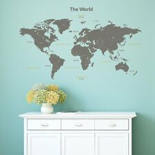 World Map Wall Stickers Dark Grey Diverse Educational Bedroom Playroom Study