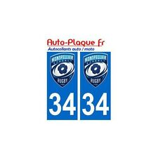 34 montpellier rugby MHRC autocollant plaque sticker arrondis