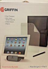 Griffin ESSENTIALS BUNDLE iPad 3rd Gen + iPad 2 pieghevole nero copertura, STAND, STILO