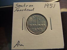 CANADA FIVE CENTS 1951 SNAKE FOREHEAD ! Zoell no: F182b !!!!